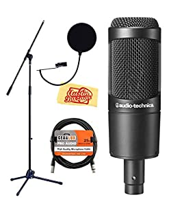 Audio-Technica AT2035 Cardioid Condenser Microphone Bundle with Boom Stand, Pop...