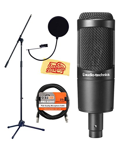 Audio-Technica AT2035 Cardioid Condenser Microphone Bundle + Boom Stand + XLR Cable + Pop Filter + KM Polishing Cloth