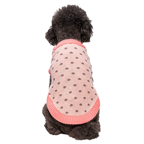 Blueberry Pet Pack of 1 14-Inch Back Length Polka Dot Princess Designer Dog Sweater in Blanched Almond and Chocolate Plum (Pet Plum Fashion)