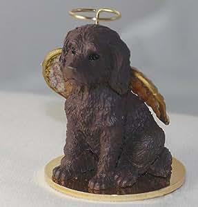 Chocolate Labradoodle Tiny One Dog Angel Christmas Ornament