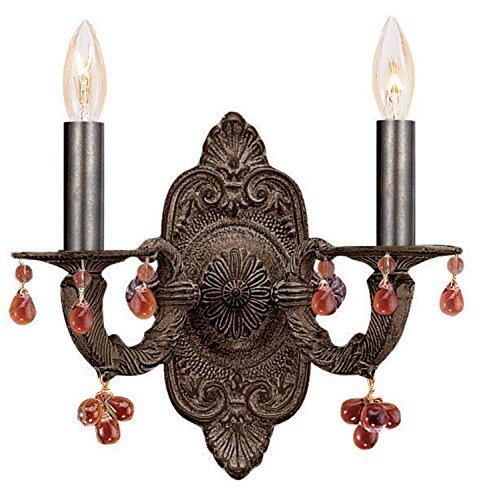5200-VB-AMBER Sutton 2LT Wall Sconce, Venetian Bronze Finish with Amber Murano Glass Beads by Crystorama Lighting Group