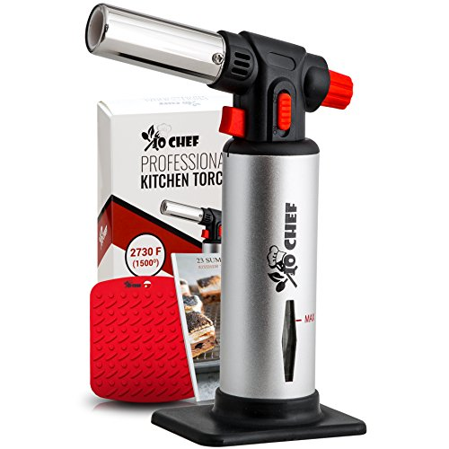 Jo Chef Kitchen Torch, Blow Torch - Refillable Butane Torch With Adjustable...