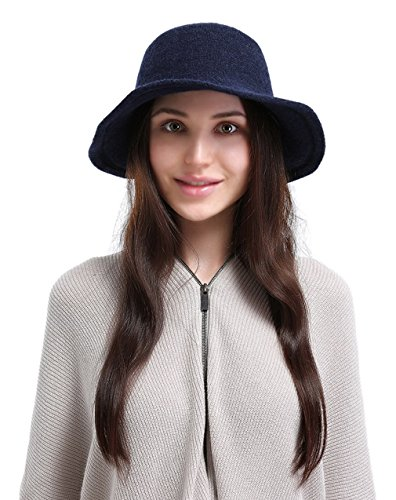 La Vogue Women's Vintage Style Autumn Winter Bucket Hat with Bowknot Blue