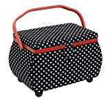 Prym Black & White Polka Dot Fabric with Red Trim Shaped-Handle Sewing Basket-Large, Cotton 32x20.5x20 cm
