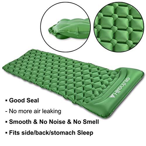 Colchoneta inflable para camping de Hikenture, compacto e impermeable, resistente a la humedad, para excursionismo, tienda de campaña, hamaca, ...