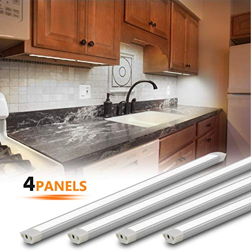 Under Cabinet Lighting Kit, 4pcs 12 Inches Under Counter Lights, 12W 840 Lumens Dimmable LED Kitchen Cabinet Strip Lights, Daylight(6000K)