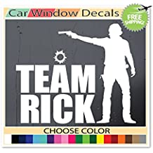 (White) Team Rick The Walking Dead Zombie Rick Grimes Supporter Car Window Decal Bumper Sticker Laptop Skin Choose Color!