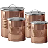 nu steel TG-CH-04C-S4 Hammered Canister (Set of 4), Copper