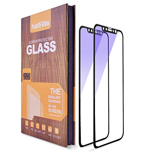 iPhone X Screen Protector Edge to Edge [2-pack] , Anti Blue Light Ray Glare Full Coverage Tempered Glass Screen Protector Film for Apple iPhone X iPhone 10 [Black 5.8''] 3D Touch (Anti Blue Light)