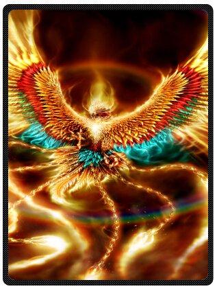 Custom Special Design funny Amazing Rise Of The Phoenix Fire Bird Black Feathers Fleece Blankets Throws 58 x 80 (Large) - Phoenix Bird Designs