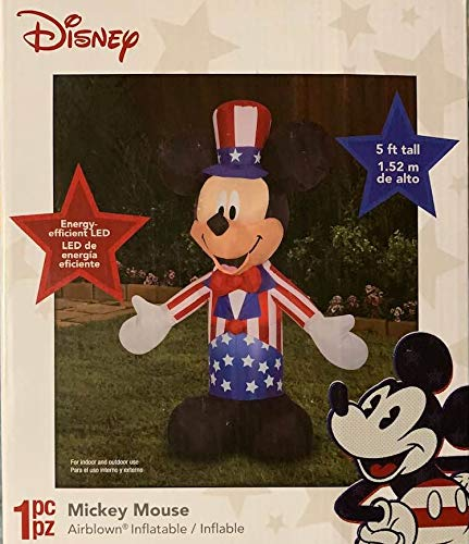 (Patriotic Inflatable 5' Mickey Mouse Uncle Sam Airblown 4th of July Holiday Decoration )