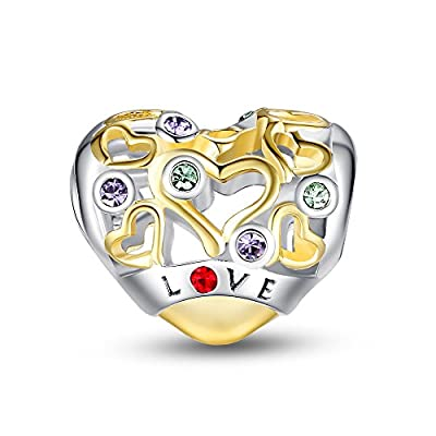 Glamulet Heart Openwork Charms Golden 925 Sterling Silver Fits for Bracelet Ideal Gifts from Glamulet