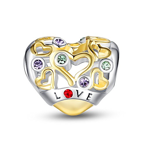 Glamulet Heart Openwork Charms Golden 925 Sterling Silver