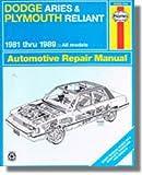 H30008 Haynes Dodge Aries Plymouth Reliant 1981-1989 Auto Repair Manual