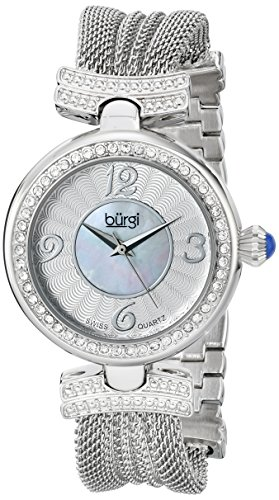 Burgi Women's BUR110SS Crystal Accented Silver Swiss Quartz Watch with White and Mother of Pearl Dial and Silver Bracelet