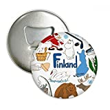Finland Landscap Animals National Flag Round Bottle Opener Refrigerator Magnet Pins Badge Button Gift 3pcs