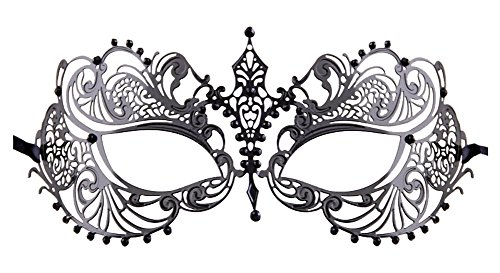 [Luxury Mask Women's Laser Cut Metal Venetian Pretty Masquerade Mask, Black/Black Stones, One Size] (Mascarade Mask)