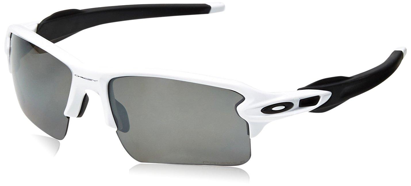 Oakley Men's Flak 2.0 XL Polarized Iridium Rectangular Sunglasses POLISHED WHITE 59.0 mm