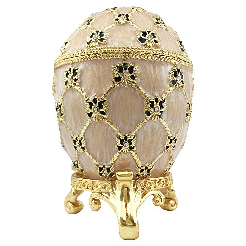 Beige Coronation Faberge Easter Egg With Mini Coach Trinket Jewelry (Faberge Czar Imperial)