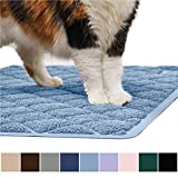 Gorilla Grip Original Premium Durable Cat Litter Mat, 35x23, XL Jumbo, No Phthalate, Water Resistant, Traps Litter from Box and Cats, Scatter Control, Soft on Kitty Paws, Easy Clean Mats, Light Blue
