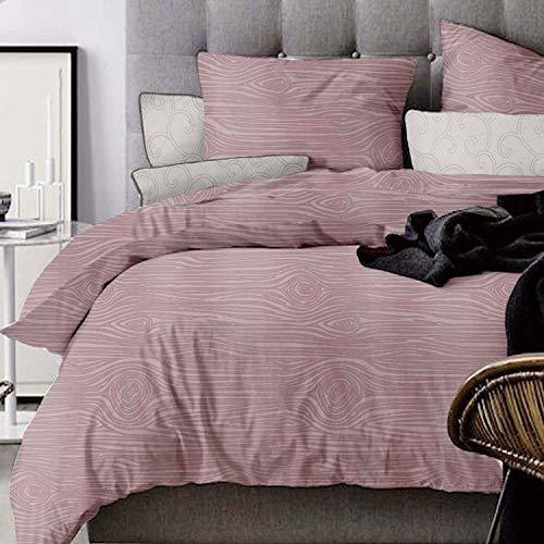 (Duvet Cover, Queen Set - 90x90 Luxury Microfiber Lightweight Duvet Comforter Quilt Bedding Covers with Zip Ties - 3 Piece (1 double cover, 2 bed pillowcase) for Women Men, Wooden)