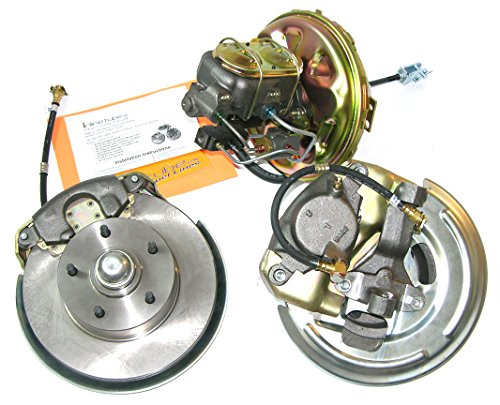 Compatible With 67-68 Camaro Front Power Disc Brake Conversion Single Piston Caliper Wheel Kit ()