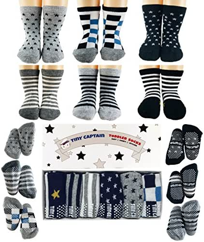 Tiny Captain Toddler Baby Boy Grip Socks, Best Gift for 1-3 Year Old Boys and Girls Anti Slip Non Skid Black, Grey, White, Stripes