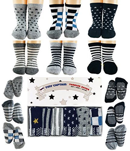 Tiny Captain Toddler Boy Non Slip Socks, Best Gift for 1-3 Year Old Boys Anti Slip Non Skid Grip Sock Birthday Gift ()