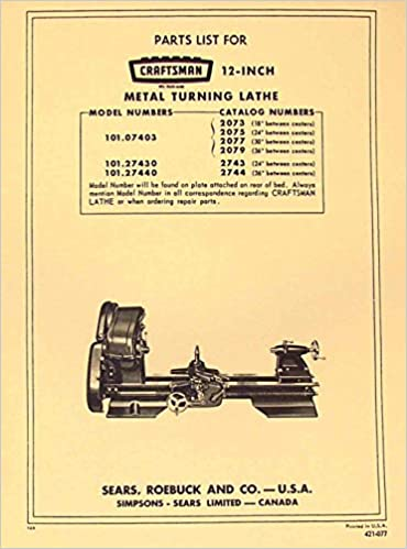 craftsman 6 inch metal lathe parts