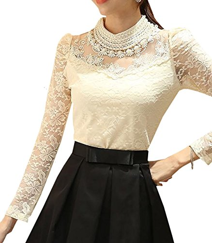 Lapiness Women's Floral Lace Blouse Overlay Turtleneck Long Sleeve Sheer Party Tops (Off-White, Medium) ()
