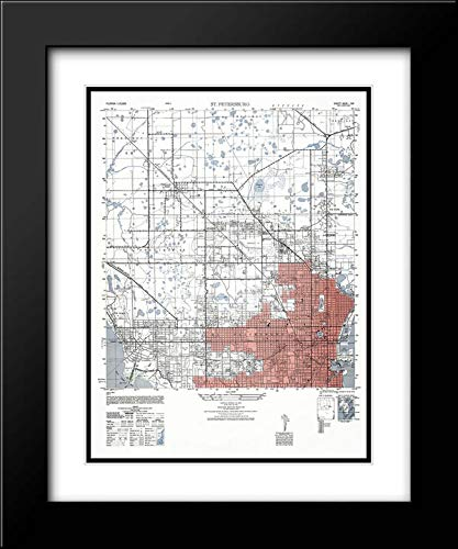 St Petersburg Florida Sheet - US Army 1947 20x24 Black Modern Frame and Double Matted Art Print by US Army Vintage Map (St Galleria Petersburg)