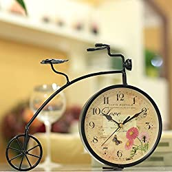 SU@DA Iron Bicycle Clock Watch Creative Clock Living Room Decoration Mute Fashion European Retro 32 25cm , 1