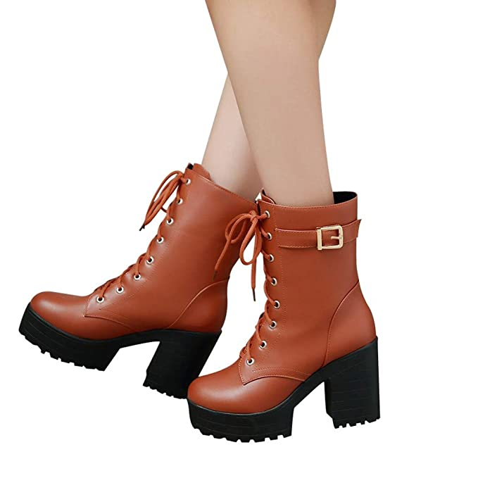 Amazon.com: Inkach Ankle Booties for Women Faux Leather Lace-up Martin Boots Shoes Chunky Block Low Heel Winter Snow Boot (36/US:6, Coffee): Garden & ...
