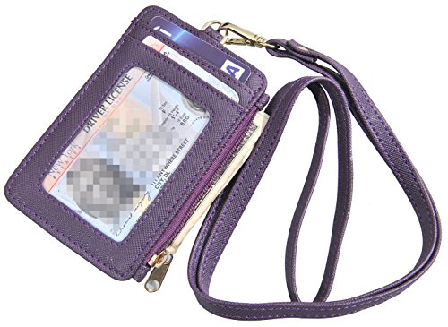 Yeeasy ID Badge Holder with Neck Lanyard PU Leather ID Badge Wallet Case with 1 ID Window, 4 Card Slots, 1 Side Zipper Pocket (Lanyard Wallet)