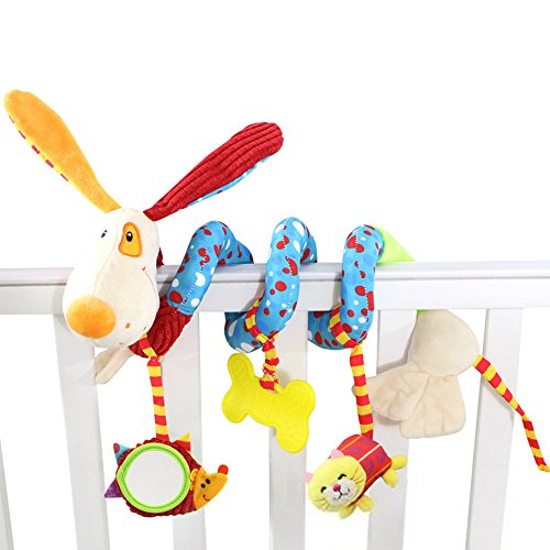 daisy's dream Plush Puppy Cartoon Stroller Hanging Rattle Toy Spiral Wrap Around Crib Bed Mobile Developmental Toy with Safety Mirror