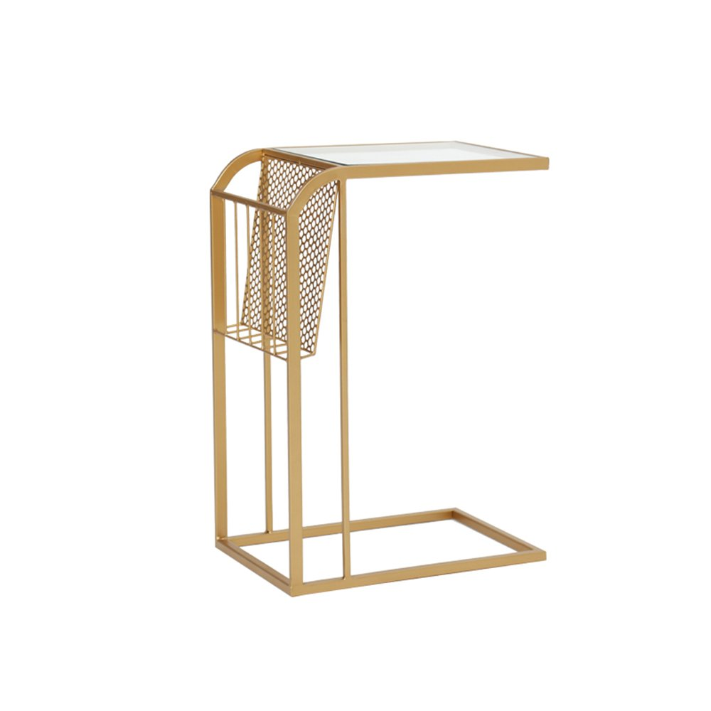 Storage rack ZHIRONG Sofa Side Table, Tempered Glass + Metal Iron Bedroom Bedside Cabinets, C Shape Coffee Table, Snack Table Decorative for Living Room, Patio, Garden Or Bed Room, Golden, Black, Wh