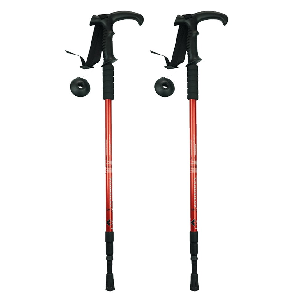 XIHAA Nordic Outdoor Three Section T Handle Hiking Trekking Stick 6061 Aluminum Alloy Adjustable, Ultralight For Travel Mountaineering(1 Pair),Red