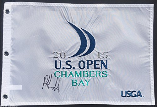 BUBBA WATSON SIGNED 2015 US OPEN CHAMBERS BAY GOLF PIN FLAG MASTERS PROOF COA K5