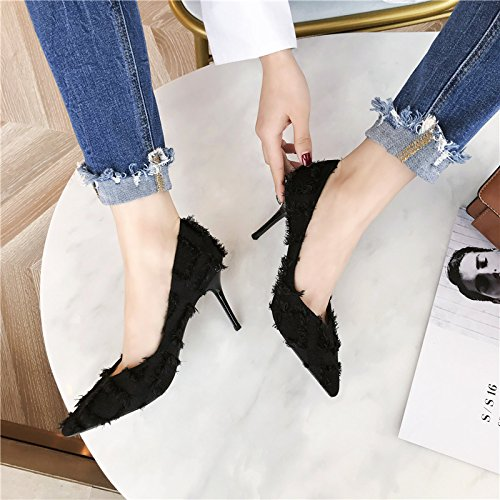 Women'S Shoes Jean Lady Shallow Heel Work Elegant 5Cm Splice Personality Single Heels High MDRW Fine Leisure Spring Elegant 39 8 Mouth Black Chic Shoes paqXndB6