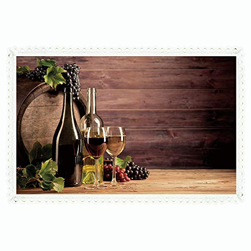 iPrint Wine,Rectangle Polyester Linen Tablecloth/Still Life of Wine with Wooden Keg Rustic Concept Tasting Viticulture/for Dinner Kitchen Home Décor,60