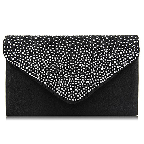 Women Evening Bag Envelope Rhinestone Frosted Clutches Party Bridal Clutch Purse (Black)