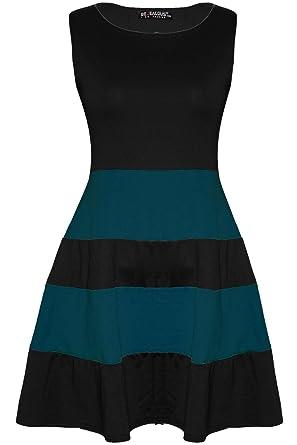 Ärmellos, Bunte Blöcke Streifen weites Midi Länge Kleid, Übergröße:  Amazon.de: Bekleidung