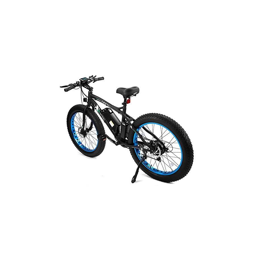 "ECOTRIC Fat Tire Electric Bike Beach Snow Bicycle 26"" 4.0 inch Fat Tire ebike 500W 36V/12AH Electric Mountain Bicycle with Shimano 7 Speeds Lithium Battery Black/Orange/Blue"