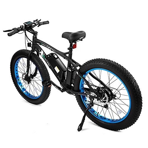 ECOTRIC Fat Tire Electric Bike Beach Snow Bicycle 4.0 inch Fat Tire ebike 500W 36V/12AH Electric Mountain Bicycle with Shimano 7 Speeds Black/Orange Lithium Battery Electric Mountain Bicycle …
