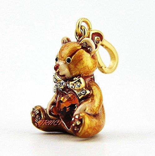 Jay Strongwater Simon Teddy Bear with Heart Charm 18k Gold Plated Swarovski Chrystals, New