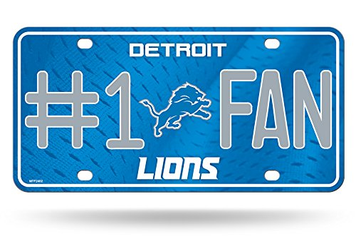 Rico NFL Detroit Lions #1 Fan Metal License Plate (Detroit Lions License Plate)