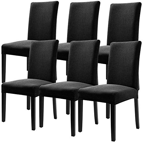 Fuloon Super Fit Stretch Removable Washable Short Dining Chair Protector Cover Seat Slipcover for Hotel,Dining Room,Ceremony,Banquet Wedding Party (6 Per Set, BKB)