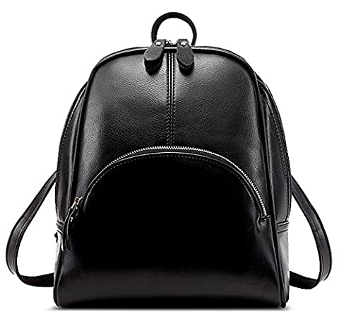 Zicac Womens Fashion Simple Style Leather Backpack Shoulder Bag (Black)