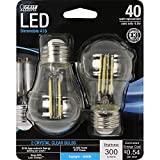 Feit Electric - Decorative Clear Glass Filament Led Dimmable 40W Equivalent Daylight (5000K) Classic A15 Light Bulb, Pack of 2 (BPA1540/850/LED/2)