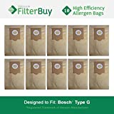 10 FilterBuy Bosch Type G Compatible Vacuum Bags, Bosch part #...
